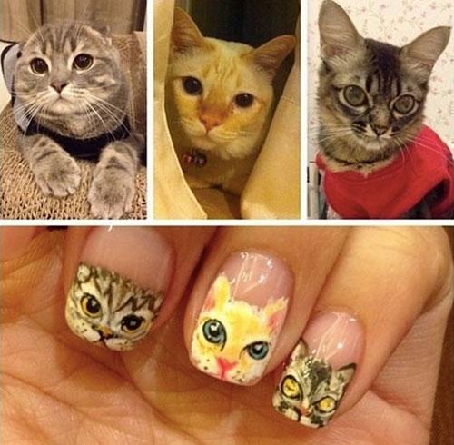 Маникюр с мордочками кошек